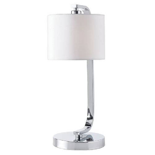 Chrome effect plate & white faux silk Tablelamp BXCANNING-TLCH-17 by Endon (Double Insulated)